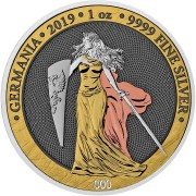 Germania 6 PRECIOUS METALS 5 Mark 2019 Silver Coin with plating by multiple precious metals 1 oz